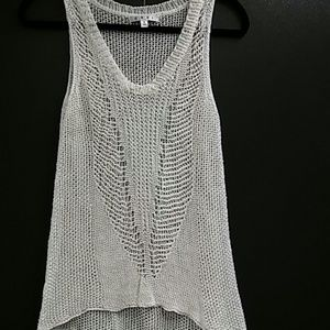CAbi Ivory linen hi low sleeveless knit top